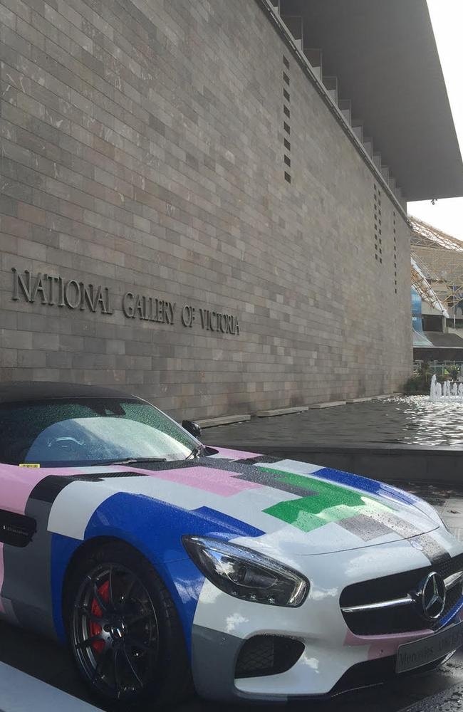 Only an Ai WeiWei design on a Mercedes (who sponsored the Warhol exhibit) would be the centre of attention at the entrance to the National Gallery of Victoria