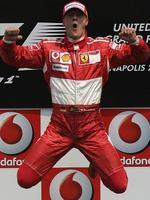 Schumacher celebrates winning United States Grand Prix in 2006.