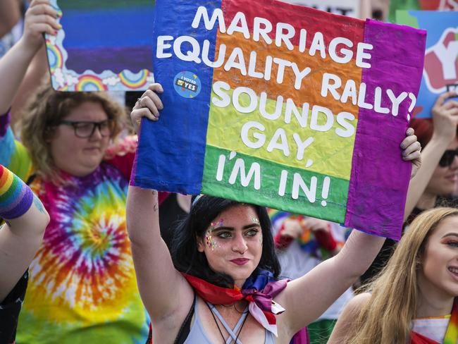 Protesters at a same-sex marriage march in Victoria Park, Broadway. Picture: Jenny Evans