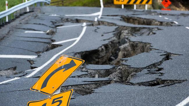 Earthquake damage near Kaikoura is expected to cost the country close to $2 billion in repairs. Picture: AFP/Marty Melville