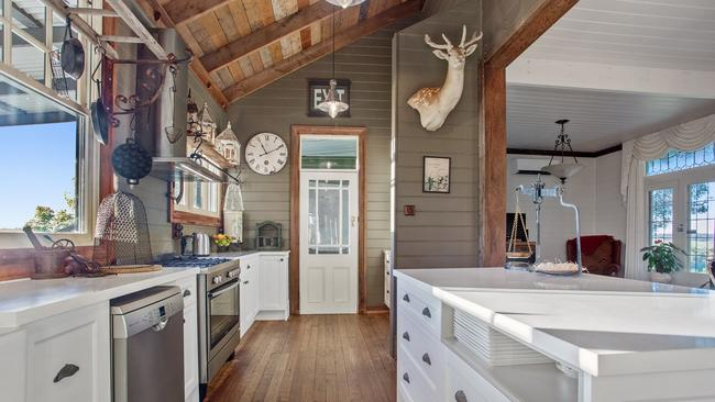 The picturesque kitchen has a number of eye-catching ornaments.