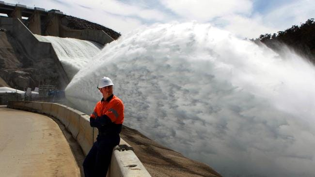 A Snowy Hydro employee watching 84,000 mega litres of water rush past him. Picture: supplied