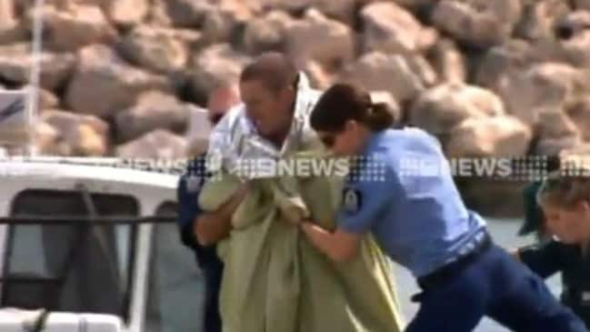 One of the men rescued off Two Rocks today. Picture: Nine News
