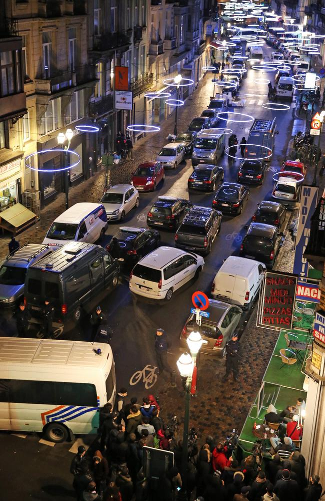 Police block traffic during a search operation in the Antoine Dansaertstraat — Rue Antoine Dansaert street in Brussels on December 20, 2015. Picture: AFP/Belga/Nicolas Maeterlinck