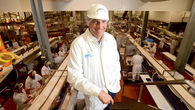 Thomas Foods International CEO Darren Thomas in an earlier image at the giant meat processing facility.
