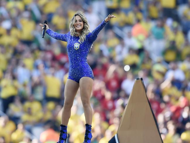 Brazilian pop singer Claudia Leitte performs during the opening ceremony of the 2014 FIFA World Cup in Sao Paulo.