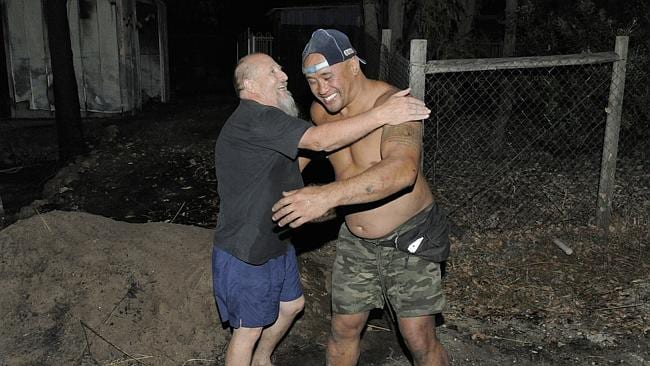 A fire in Stoneville has led to evacuations and loss of property. Resident Rob Coumbe thanks fellow resident Sam Inu for saving his house from being burnt down. Sam has been touted a hero for saving four other families houses from being burnt down. Rob and Sam live on Narla Retreat in Stoneville.