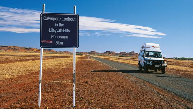 The road to Cawnpore Lookout near Boulia in western Queensland.