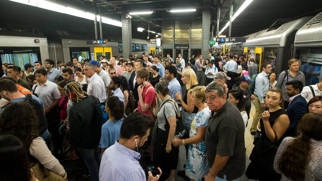 Thursday's overtime ban saw Sydney creak at the seams with people trying to get on trains. Picture: Julian Andrews.