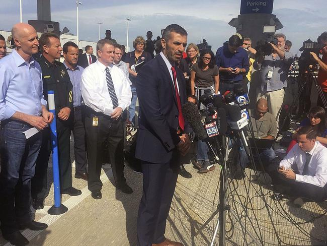 George Piro, special agent in charge of the FBI's Miami Division speaks during a news conference at Fort Lauderdale-Hollywood International Airport Terminal. Picture: Roberto Koltun/Miami Herald via AP