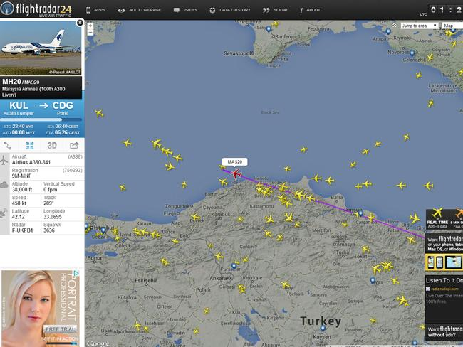 The flight path of MH20. Picture: FlightRadar24