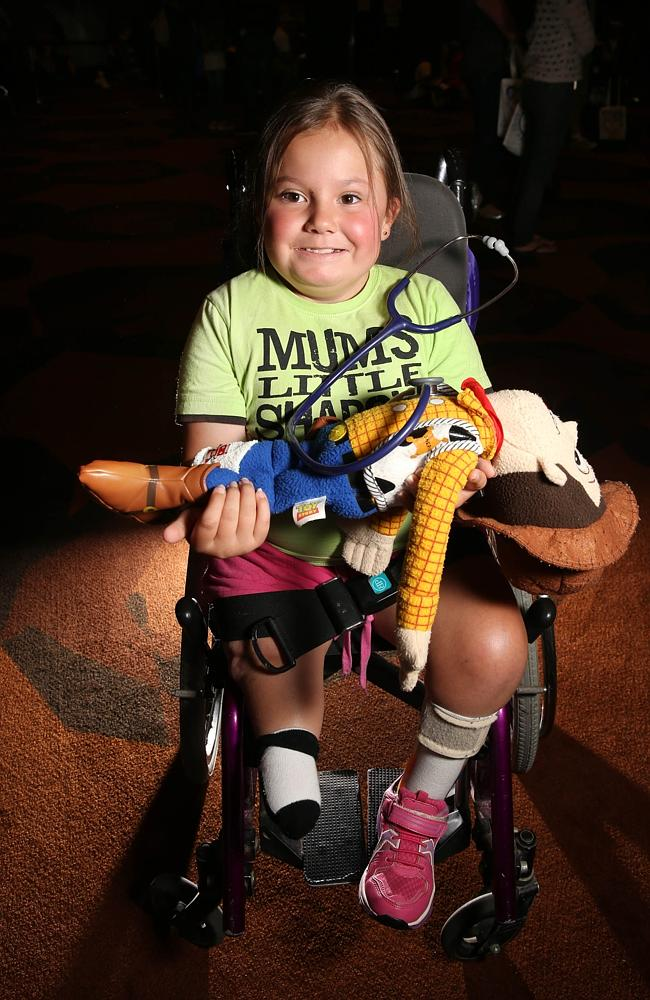Stawell youngster Amarina Richards joined the crowds at the MCEC for the telethon. Picture: Alex Coppel.