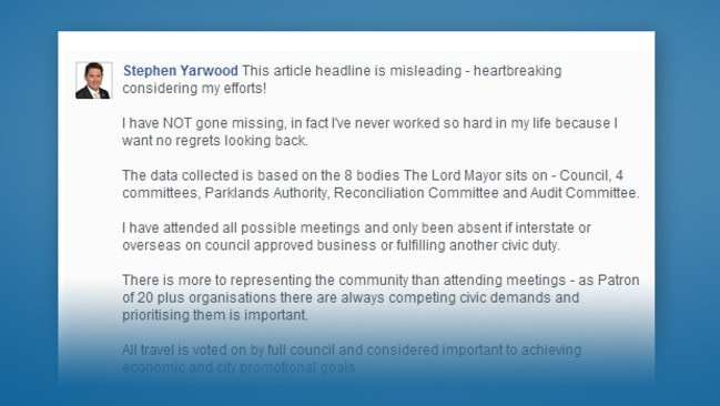 Part of Mayor Stephen Yarwood's recent Facebook post, defending his work ethic.