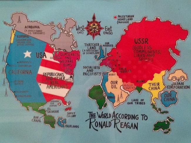 "A political cartoon from 1984 showing the ""World According to Ronald Reagan"". It features ""kangaroos"" for Australia."