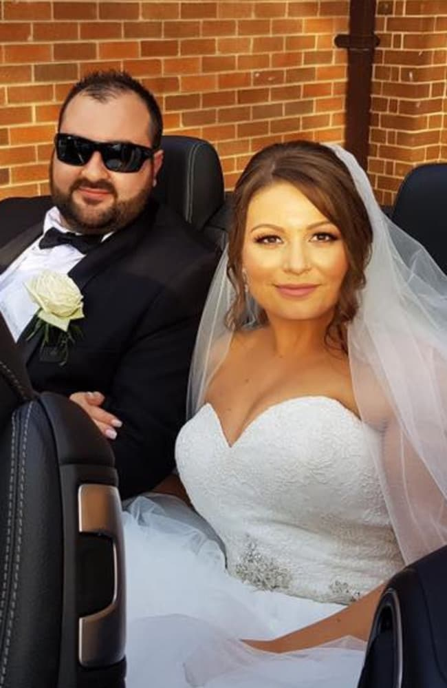 Mathew Carione and his bride Rebecca Becvarovska's wedding day was marred by violence after a brawl erupted outside their reception venue in Leichhardt. Picture: Supplied