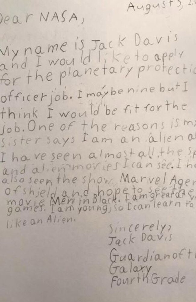 Nine-year-old Jack Davis' letter to NASA is everything. Picture: NASA