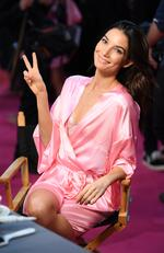 Lily Aldridge has her Hair & Makeup done prior the 2016 Victoria's Secret Fashion Show on November 30, 2016 in Paris, France. Picture: Getty