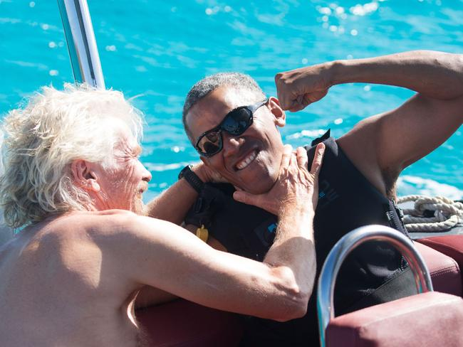 Mr Obama, pictured during on holiday with British billionaire Richard Branson the coast of Moskito Island in the British Virgin Islands in the Caribbean. Picture: Jack Broadway/AFP