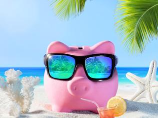 Piggy Bank With Drink On The Palm Beach