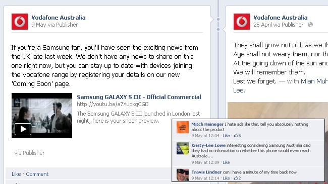 Vodafone's posting of a Samsung Galaxy ad generated angry comments from Facebook fans (see inset). Picture: Courtesy of Facebook