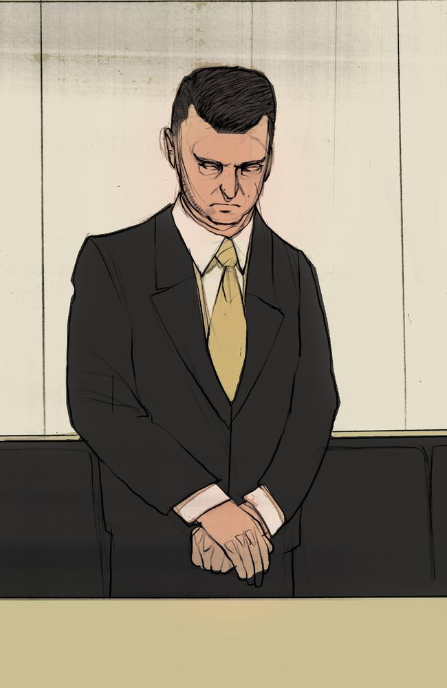 Artist drawing of Gerard Baden-Clay as he is sentenced to life in prison for the murder of his wife. Illustration by Brett Lethbridge