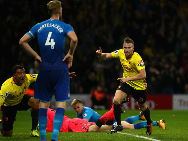 Tom Cleverley of Watford scores.
