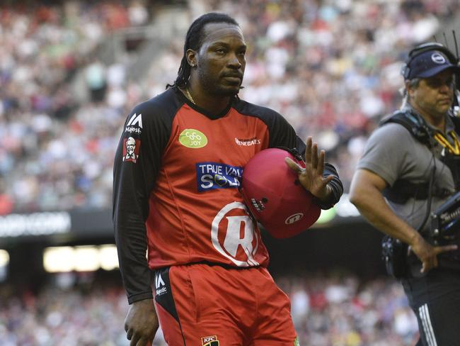 Chris Gayle was cheered by the MCG crowd after being dismissed during the Melbourne derby. Picture: Christopher Chan.