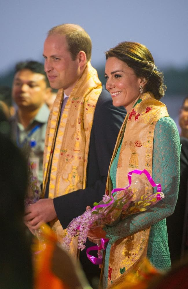 Prince William, Duke of Cambridge and Catherine, Duchess of Cambridge are greeted with a ceremonial welcome as they arrive at Tezpur Airport in Assam, India, in 2016. picture: Getty