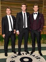 Aussie brothers Luke Hemsworth, Liam Hemsworth and Chris Hemsworth attend the 2014 Vanity Fair Oscar Party. Picture: Getty
