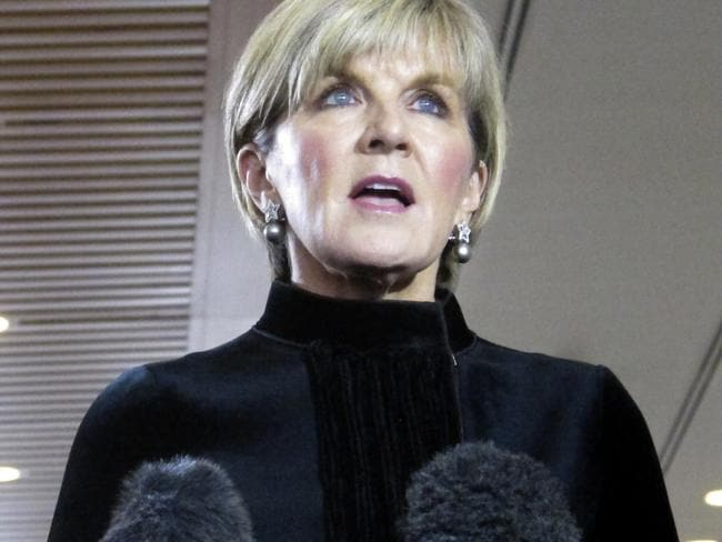 Australian Foreign Minister Julie Bishop has doubled down on her criticism of Penny Wong. Picture: Rod McGuirk/AP