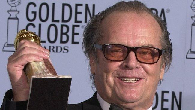 Actor Jack Nicholson hold his award at the Golden Globe Awards in 2003 having won Best Actor for As Good As It Gets.