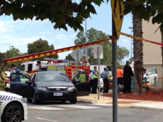Firefighters, police and ambulance crew at the Morley Galleria after the fatal explosion near Woolworths. Picture: Emily Piesse/Twitter