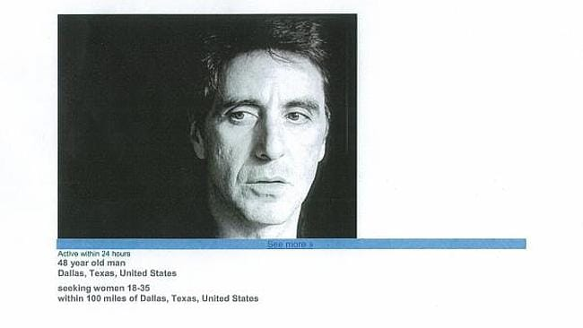 Al Pacino, in his younger days, used on a profile on a dating website match.com. Picture: Web Grab