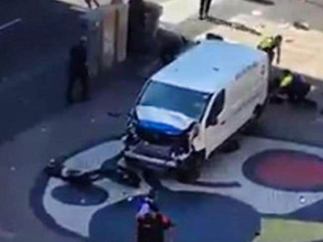 Twitter images of what is believed to be the white van used in the terror attack at Las Ramblas in Barcelona.