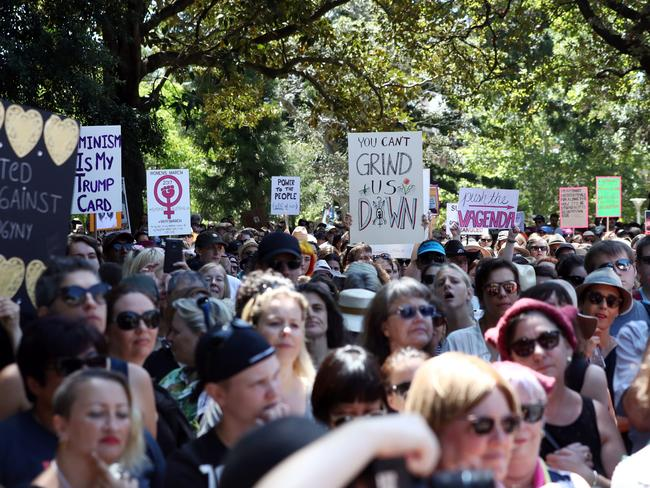 An estimated 10,000 walked from Sydney's Hyde Park to Martin Place on Saturday. Picture: Andrew Murray/AFP