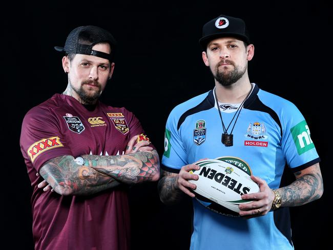 Mate against mate ... Benji Madden supports Queensland, while his brother Joel is a NSW fan.