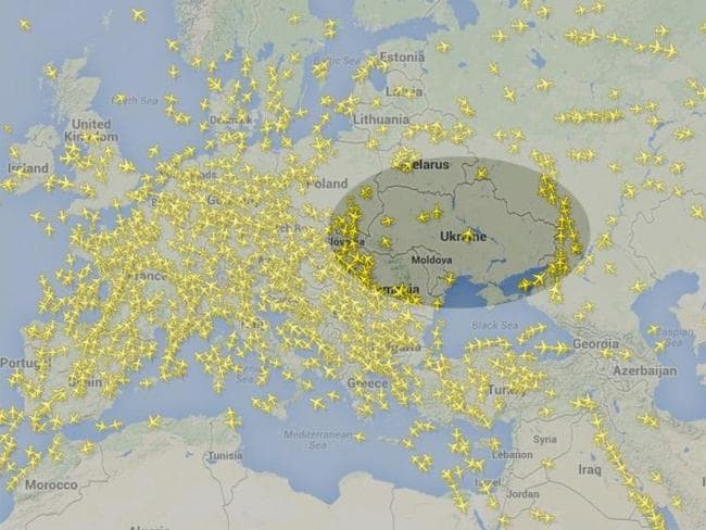 Safety concerns ... a flight radar image shows planes avoiding the air space above Ukraine.