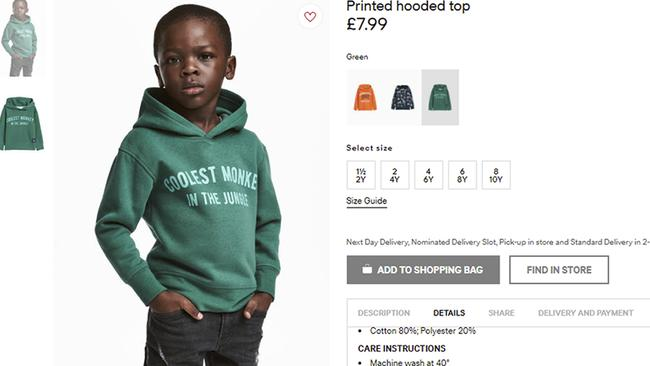 "H & M apologised and removed an ad featuring a black model in a sweatshirt with the words ""Coolest monkey in the jungle"". Picture: H & M via AP"