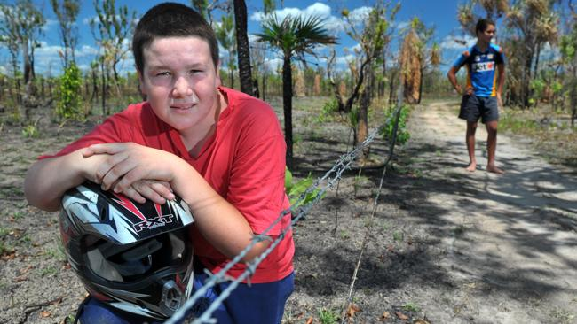 Nearly died ... Richard Greaves, 13, from Livingstone, received 15 stitches in his neck and mouth after hitting barbed wire on his quad bike.