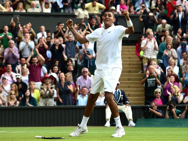 Australia's Nick Kyrgios celebrates his stunning win over world No.1 Rafael Nadal.