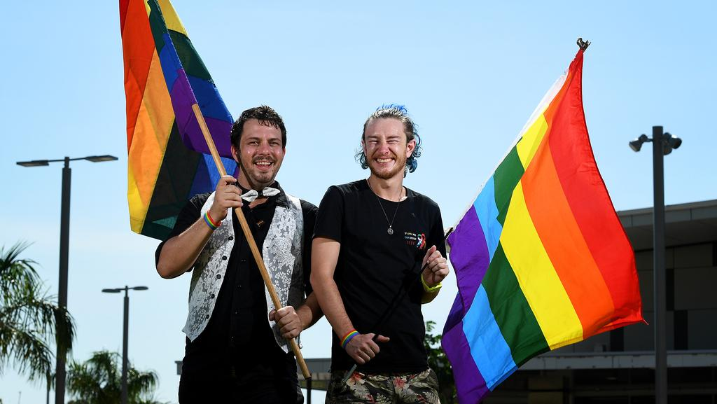 <s1>  James Emery and Julzz Grnja proudly wave the rainbow flag in Goyder Square.  </s1>  <source></source>Picture: JUSTIN KENNEDY  <source></source>