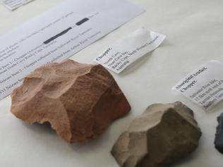 Some of the alleged Tasmanian Aboriginal artefacts. Picture: LUKE BOWDEN