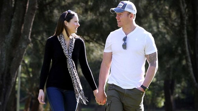 NRL player Luke Lewis pictured with his wife Sonia at Carrs Bush Park. Picture: Tracee Lea
