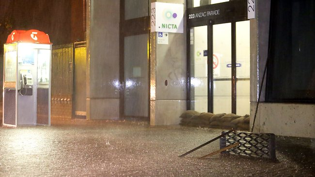 Buildings were sandbagged overnight in Sydney. Picture: Bill Hearne