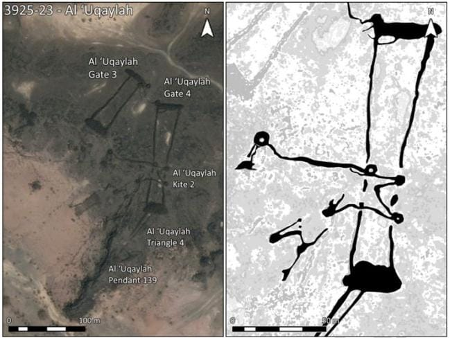 A satellite photo showing a collection of stone structures found in the Saudi desert, with an illustration detailing their relationship to each other alongside. Pictures: D. Kennedy, Arabian Archaeology and Epigrahy