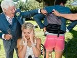 This embarrassed bride's husband shows off his special wedding underwear. Picture: RICCARDO BESTETTI / ISPWP / CATERS NEWS