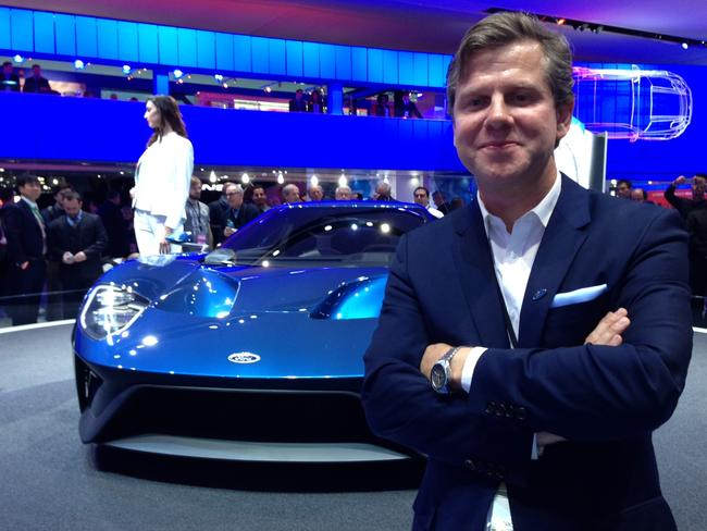 Star attraction ... Ford designer Todd Willing and the new Ford GT at the 2015 Detroit motor show. Picture: Joshua Dowling