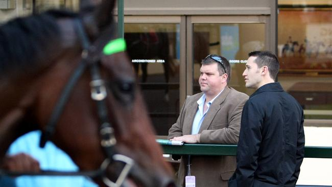 Tinkler with Tom Waterhouse at the Cox Plate preview at Moonee Valley.