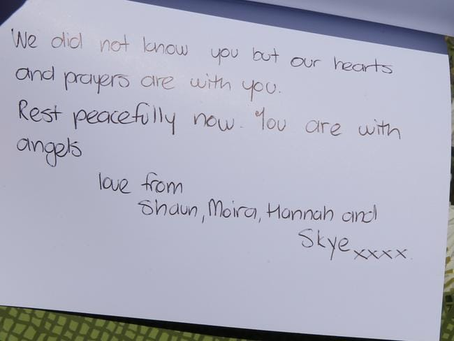 A heartfelt message to the family who died in the suspected murder-suicide. Picture: John Grainger