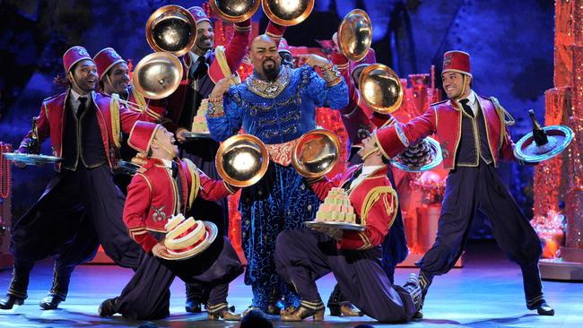 """The cast of """"Aladdin"""" performing at the Tony Awards. Picture: Evan Agostini"""